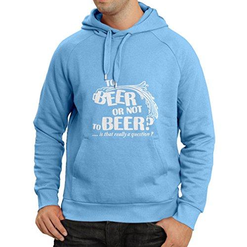 lepni.me Felpa con Cappuccio Alla Birra o - Regali Divertenti, Camicia da Festa per Bere Birra, Umorismo Sarcastico Azzulo Bianco