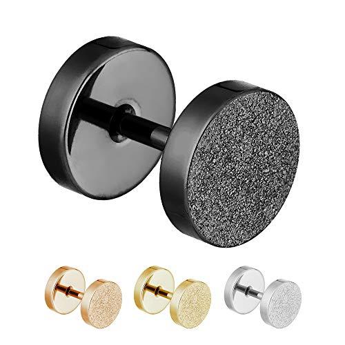 Treuheld® | 8mm Fake Plug Ohrstecker in Diamant Glitzer Optik | Silber | Fake Tunnel Ohrring zum Schrauben für Damen und Herren | Chirurgenstahl