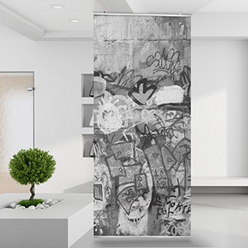 Raumteiler Grafitti Urban Ghetto Spray Farbe Kunst Art schwarz weiß Wand Stoff Mauer Bild Zimmer Dekoration Modern XXL Bahn einteilig No.76-4 (Kunst Spray-farbe)