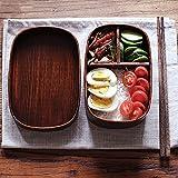 IXIFH Bento-Box Naturholz-Brotdose Mit Bag Square Boxes Handgemachte Hölzerne Frucht-Sushi-Box Portable Picknick-Lebensmittelbehälter, Quadratische Brotdose, 3 Gitter, 700Ml, 1 Schicht