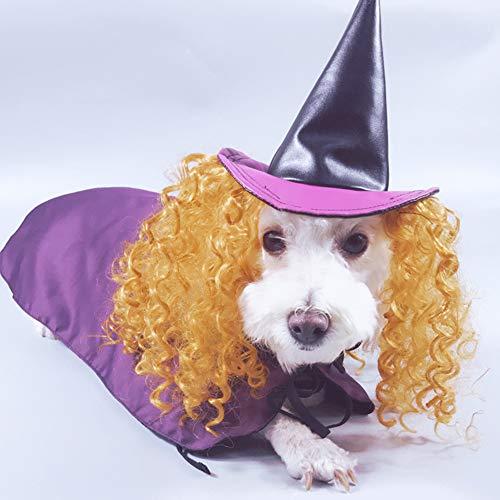 P12cheng Haustier-Umhang, lustiges Haustier Kostüm Hexe Perücke Hut Kleid Cosplay Cape Outfit für Hunde Halloween, violett, - Gute Hexe Des Westen Kostüm