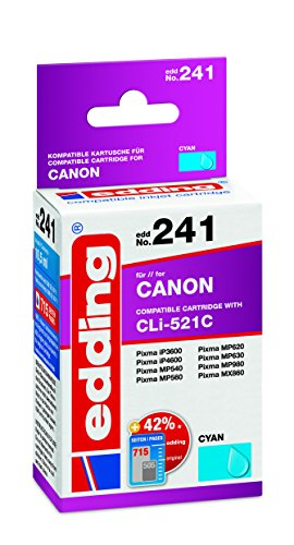 edding Tintenpatrone EDD-241 ersetzt Canon CLI-521C - Cyan - 10,5ml