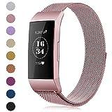 Gogoings Para Fitbit Charge 3 Correa Original - Pulsera de Reemplazo Ajustable Acero Inoxidable Banda Compatible con Fitbit Charge3 para Mujeres y Hombres (Sin Reloj) (Oro Rosa, L)