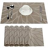 Fontic 6Pcs Sets de Table Anti-Glissant en PVC Napperon Lavables(45x30cm) Napperons pour Cuisine, Salon, Jardin ou Salle à Manger (Kaki)