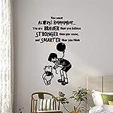 haotong11 Vinyl Wandkunst Aufkleber Winnie The Pooh Zitat Wandtattoo Sie sind mutiger als Sie glauben Zitat Kinderzimmer Dekoration 57 * 81cm