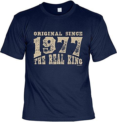 T-Shirt zum Geburtstag: Original since 1977. The real King - Tolle Geschenkidee - Baujahr 1977 - Farbe: navyblau Navyblau