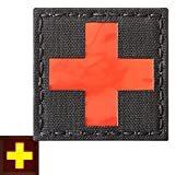 Red Cross Reflective Med Medical EMS EMT 2x2 Tactical Morale Touch Fastener Patch