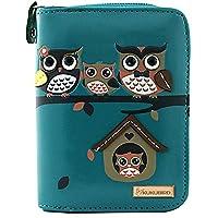 KukuBird 33D Owl Family Tree House Pattern Medium Ladies Purse Clutch Wallet - Christmas Stocking Filler- BLUE