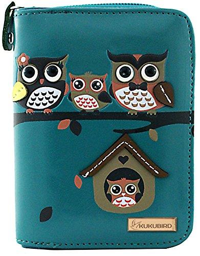 KukuBird 33D Owl Family Tree House Pattern Medium Ladies Purse Clutch Wallet, 1BLUE, LARGE