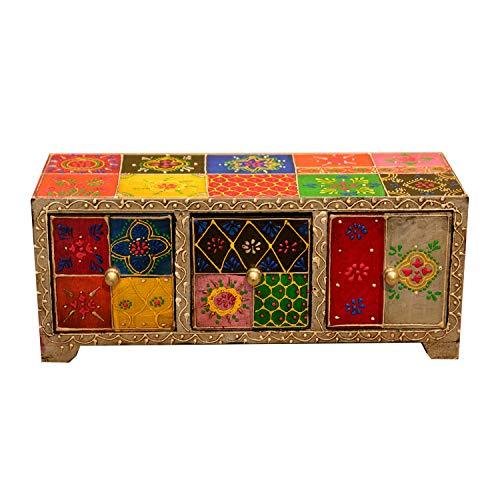 Casa Moro Orientalische Mini-Kommode Chandi mit 3 Schubladen 28x11x10 cm (B/T/H) aus Holz | handbemalte Apotherschränkchen Box Schmuckkasten | Orginelle Geschenk-Idee Weihnachten | MA27-05