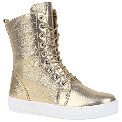 Damen Sneakerstiefel Metallic Sneakers Schnürer High 151719 Gold Metallic 39 Flandell (Gold-erwachsene Stiefel)