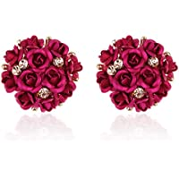 Shining Diva Fashion Pink Floral Stylish Stud Earrings for Women and Girls (9172er, Pink)