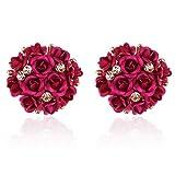 Shining Diva Fashion Pink Floral Stylish Fancy Party Wear Stud Earrings For Women & Girls(9172er)