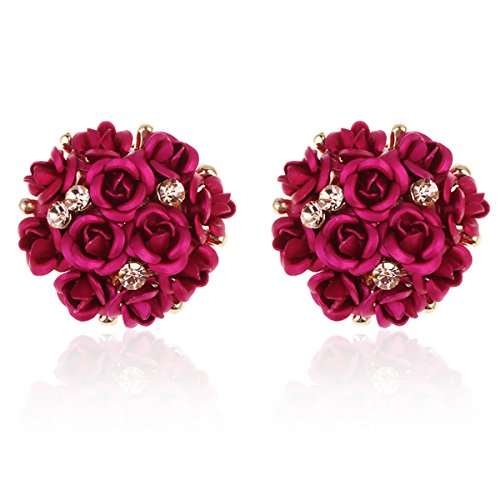 Shining Diva Copper Earring Studs for Women (Pink) (9172er)