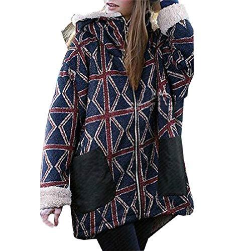 (PAOLIAN Damen Mantel Winterjacke,Damen Plus Size Warme Fleece Wintermantel Kapuzenjacke Parka Mantel Outwear Strickjacke Outdoor Mantel)