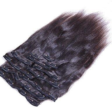 GAMTA @ Clip in Haarverlängerung Yaki gerade brasilianische Haar natrual schwarz yaki gerade Clip in Menschenhaar spinnt 8pcs / set 10-26 Zoll , 8pcs/pack