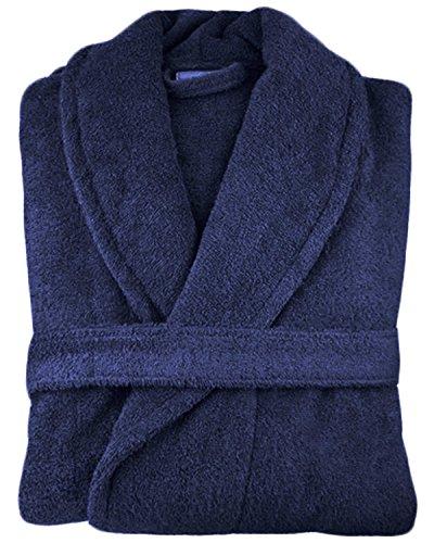 Bademantel mit Kapuze und Stehkragen, Unisex, ägyptische Baumwolle, 500g/m² Frottee, blau (Black Womens Bamboo)