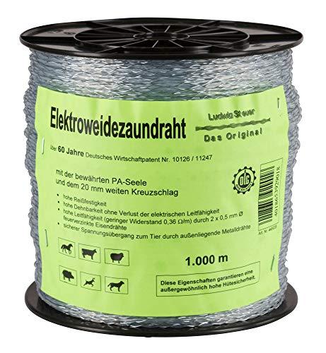 AKO Original Steuer-Litze, 2 kreuzgewickelte Eisendrähte - 1.000 m - Garantiert Hohe Hütesicherheit - Hohe Dehnbarkeit ohne Verluste