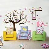 Rainbow Fox Dschungel-Affe-Waldtierwandaufkleber , Eichhörnchen und Eule Schaukel Spiel auf bunten Blättern Baum Wandaufkleber Wandaufkleber für Kinderzimmer Dekoration (RF1216)