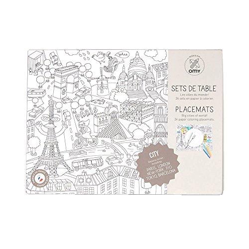 OMY - 24 Manteles Individuales Para Colorear - Bloc Omy City Map 24 Manteles Individuales, Juguete Manualidades A partir de 4 Años
