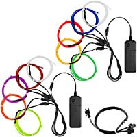 YuCool 10 Pack 3ft Portable EL Wire, Neon Light for Halloween Christmas Party Decoration Home Improvement - 10 Colors