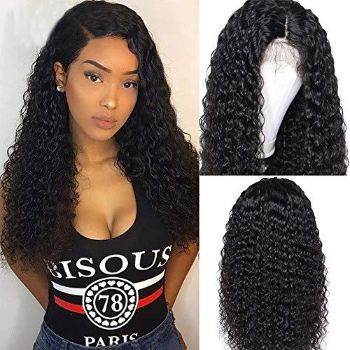 S-noilite Echthaar-Perücke, kurz, 13 x 6 cm, vorgerupftes Haar, gelockt, brasilianisches Remy-Haar, Lace-Front-Perücke, tief gelockt, gewellt -