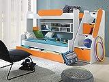Furnistad Etagenbett Luna | Kinder Stockbett mit Treppe und Bettkasten (Weiß + Orange)