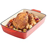VonShef Cast Iron Cooking Roasting Dish - Oven to Table Cookware - Red Enamel 39cm