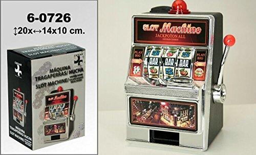 DonRegaloWeb - Maquina tragaperras-hucha decorada con el logo slot machine con múltiples colores.