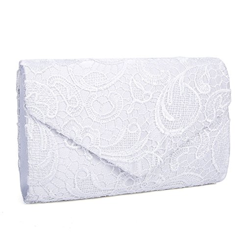 EULovelyPrice Damen Elegant Spitze Umschlag Clutches Abendtasche Party Hochzeit Handtaschen (Weiß)