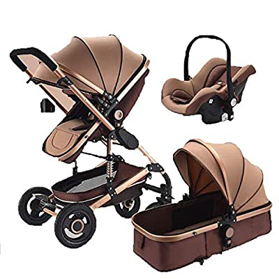 Cochecito Urbano 3 En 1, Diseño Compacto, Sistema Plegable, para Bebes De 0 Meses hasta 4 Años,Khaki