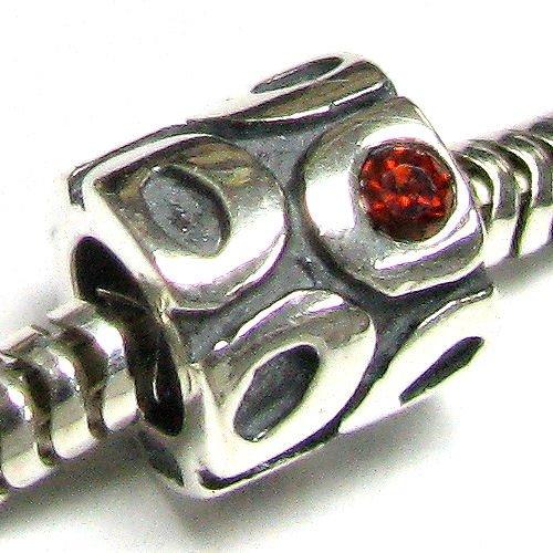 Anello in argento sterling 925rosso cz cristallo perline per braccialetti europei