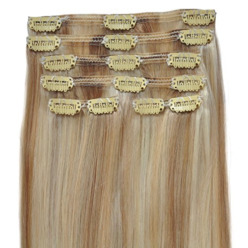 FULL HEAD, Real Clip-in Hair Extensions - 22 inch, 100% Remy, Triple Weft, Thick Human Hair, (22