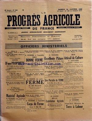 PROGRES AGRICOLE DE FRANCE (LE) [No 394] du 24/01/1959 - officiers ministeriels - paul daizac - agriculture par le francois - le coup de la buche par arfeuilles - agriculture parle francois - jurisprudence par lex et bauer -genie rural par marguerin - legislation rurale par rene - aviculture par gallus - peche par emerillon - apiculture par caillas - page de la fermiere par Collectif