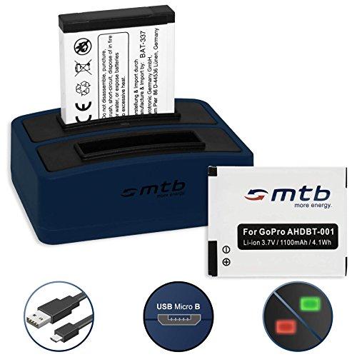 3 Batteries + Double Chargeur (USB) pour GoPro ABPAK-001, AHDBT-001 | Hero, Hero2, Hero960 - voir liste! (Cable Micro USB inclus )