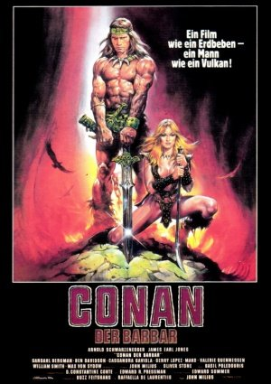 CONAN THE BARBARIAN - Arnold Schwarzenegger - German Imported Movie Wall Poster Print - 30CM X 43CM Brand New - Music-bild Sheet