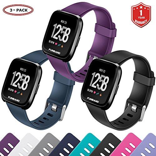 FunBand Fitbit Versa Armband, Klassisch Verstellbares Ersatz weiches Silikon Sporty Wrist Strap Band Armbanduhr Uhrenarmband Schlaufe Armbänder für Fitbit Versa Smartwatch (Small & Large)