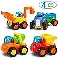 GoStock Baby Spielsachen Spielzeugauto Baufahrzeuge 4 in Einem Set für Kinder ab 1 2 3 Jahre, Traktor, Bulldozer, Kipper & Zementmischer von GoStock