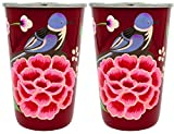 The Crazy Me Handpainted Colorful Bird Red Tumbler (Large) (SET OF 2)