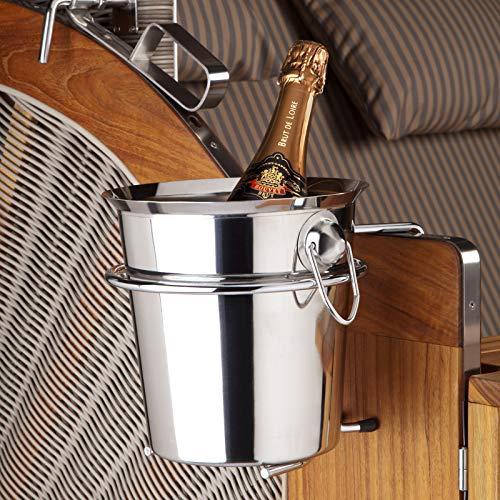 Champagner- und Weinkühler mit Halterung aus Chromnickelstahl für den Strandkorb