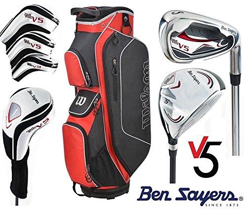 Ben Sayers Golfschläger-Set, linke Hand, Tour Stahl V5,komplettes Herren-Golf-Set, mit Tasche