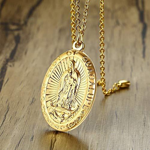 DADATU Collar Hombre Medalla De La Virgen De Guadalupe De Los Hombres Collar Colgante En Acero Inoxidable Tono Oro Virgen María Patrón De Las Medallas De La Joyería Masculina