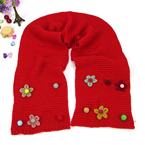 Shawl Jamicy® Kleinkind Winter warnen Mädchen Unisex Baumwolle Solid Floral Kinder Baby Schal gestrickt O Ring Hals Schals (Rot) (Wolle Anzug Bestickt)