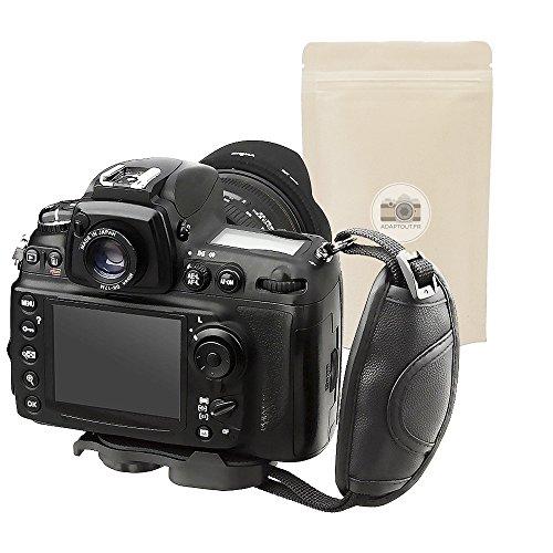 Maniglia di stabilizzazione ergonomica nera similpelle per Fotocamera Cinghia di Polso imbottita compatibile con tutte le marche Canon Nikon Sony