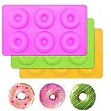 (3 stück) 6 silikon - Donut Backformen, Kuchen Formen - Schokolade Seife - Gelee - Backform für Geschirrspüler, Backofen, Mikrowelle, Kühlschrank