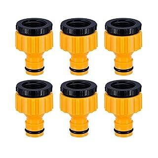 Topways® 6 Stück Hahnverbinder Anschluss für Wasserhähne mit Gewinde, 1/2 '' 3/4 '' BSP 2in1 Tap Connector Faucet Adapter Garten Hahnverbinder Wasserhahn Anschluss für Wasserhähne mit Gewinde