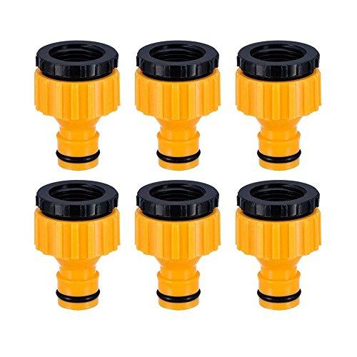 Topways® 6 Stück Hahnverbinder Anschluss für Wasserhähne mit Gewinde, 1/2 '' 3/4 '' BSP 2in1 Tap Connector Faucet Adapter Garten Hahnverbinder Wasserhahn Anschluss für Wasserhähne mit Gewinde -