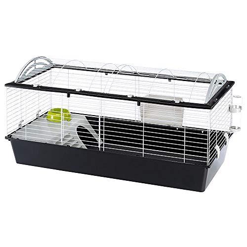 Ferplast gabbia spaziosa per conigli casita 120, casetta per porcellini d'india piccoli animali, tetto arrotondato apribile, accessori inclusi, in metallo verniciato bianco e plastica, xl