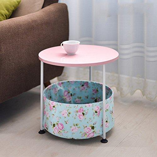 Folding table NAN 2 Tier Sofa Beistelltisch, Kunsttisch Telefon/Kaffee/Beistelltisch/Lagerregal (Farbe : - Pink Kaffee-tisch-bücher