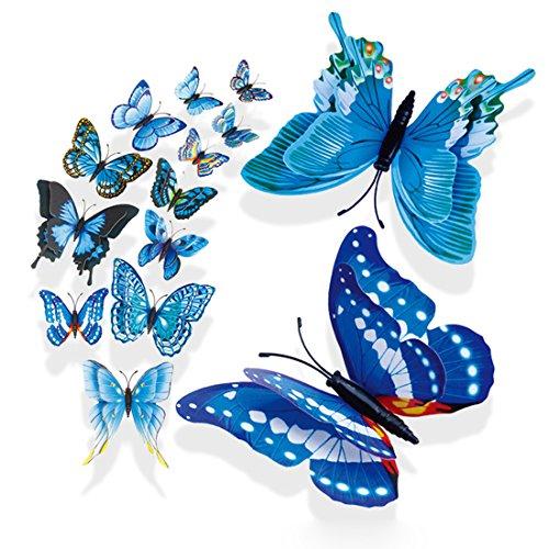 Preisvergleich Produktbild 3D Schmetterlinge Dekor Aufkleber 12er Set Dekoration Wandtattoo Cartoon Wandsticker Abnehmbare Abziehbild (B)